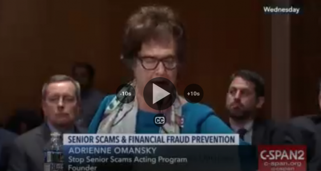 Speaking Out Against Senior Scams at Senate Aging Committee