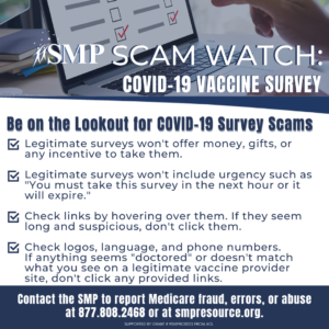 list of things to watch for regarding covid survey scams