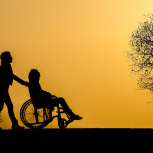 silhouette of person in wheelchair and person pushing chair with sunset sky and bare tree