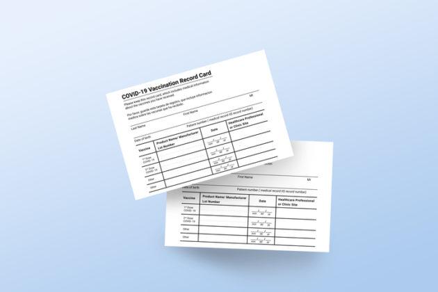 Coronavirus vaccination record card.