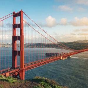 The Golden Gate Bridge, standing on the Golden Gate Strait in San Francisco, California