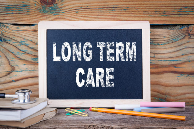long term care. health and safety. Chalk board Background