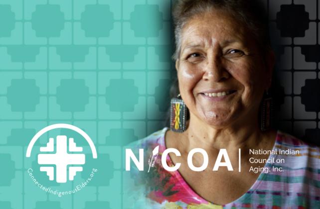 NICOA logo with pic of native elder woman smiling
